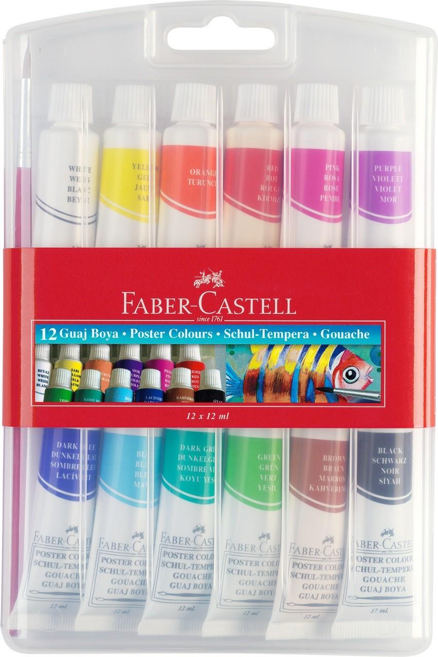 Гуашь fabercastell в тюбиках по 12 мл набор 12 цветов в