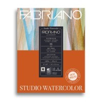 Альбом для акварели FABRIANO Watercolour Studio Hot pressed, 300г/м2, 20.3x25.4см, Сатин, склейка 12 листов