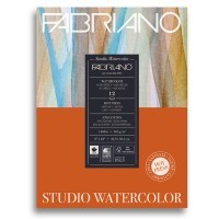 Альбом для акварели FABRIANO Watercolour Studio Hot pressed, 300г/м2, 22.9x30.5см, Сатин, склейка 12 листов