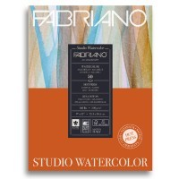 Альбом для акварели FABRIANO Watercolour Studio Hot pressed, 300г/м2, 22.9x30.5см, Сатин, склейка 50 листов