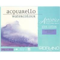 Блок для акварели FABRIANO Artistico Traditional White, 200г/м2, 45.5x61см, Торшон, склейка 15 листов